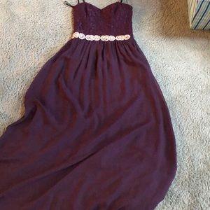 Purple Strapless Prom Dress